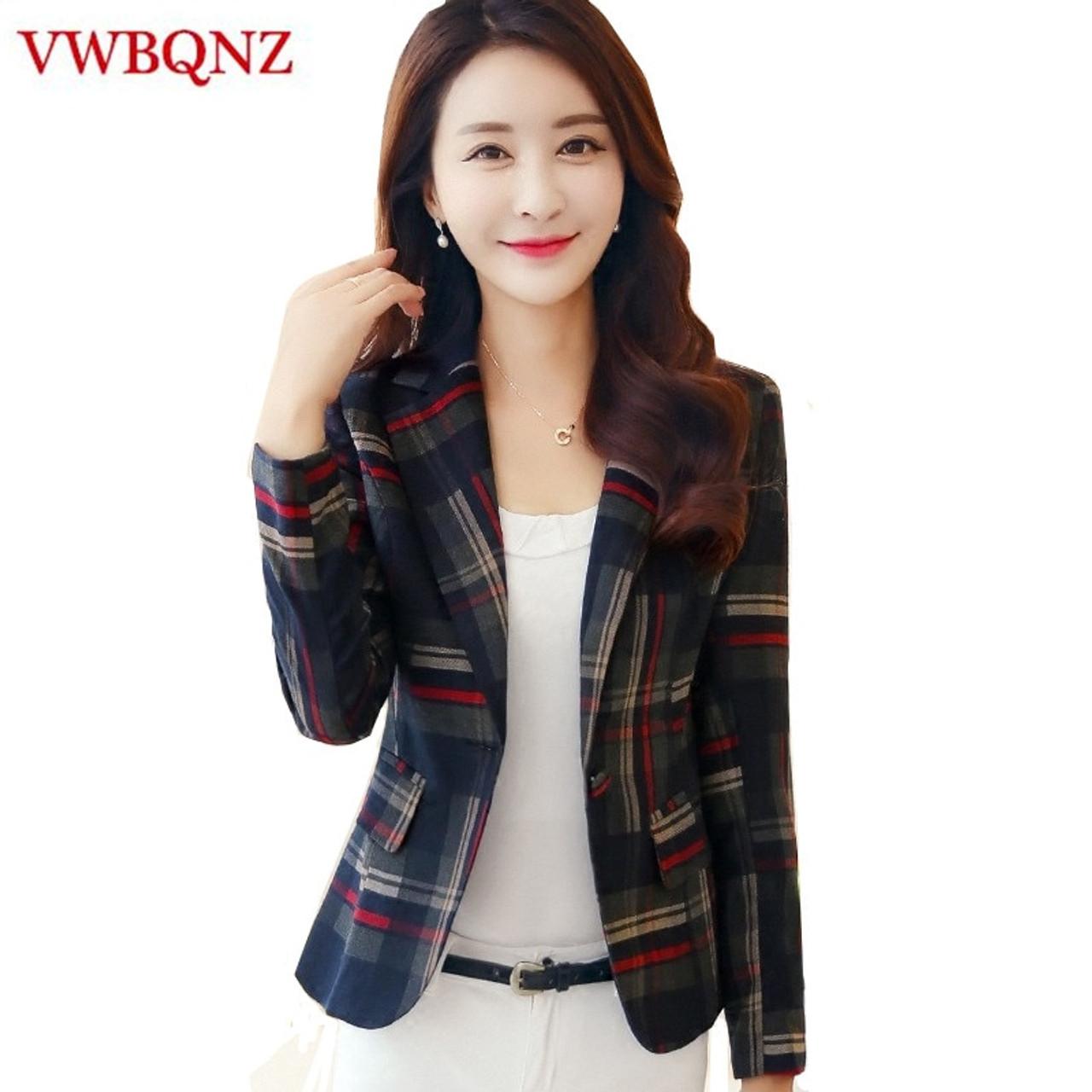 3beb487f6f88e Women Plaid Business Suits Spring Autumn Single Button Female Blazers  Jackets Short Slim Plaid Blazer Women Suit Plus Size 3XL