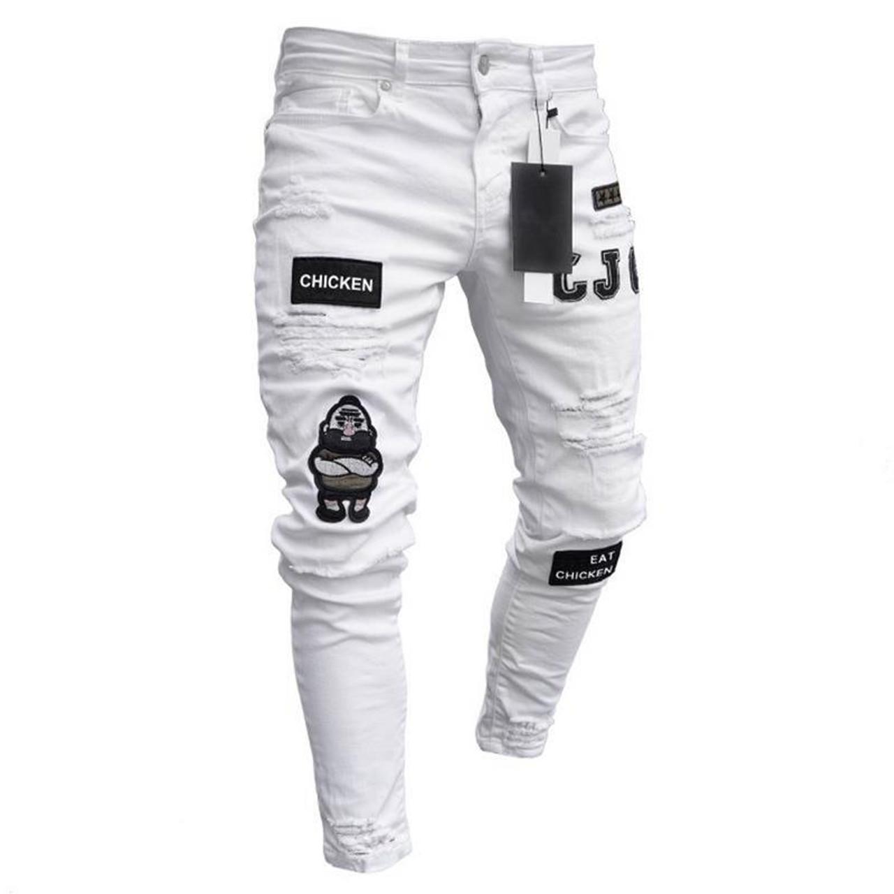 9aa0d4e6f ... Fear Of Gold Fashion Men Jeans Hip Hop Cool Streetwear Biker Patch Hole  Ripped Skinny Jeans ...