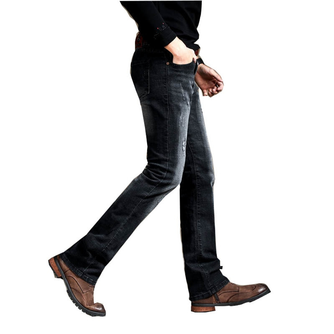 Men S Slim Boot Cut Semi Flared Jeans Ripped Business Casual Jeans Male Mid Waist Elastic Four Seasons Black Bell Bottom Jeans