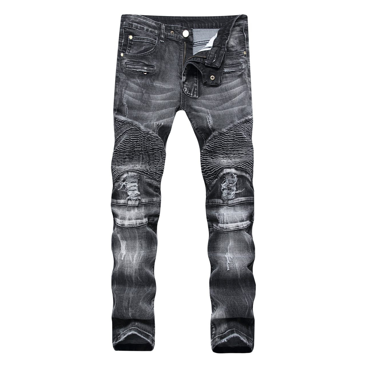 e4127a987cd High Street Hole Jeans Pants Men Fashion Casual Denim Trousers Pockets Solid  Street Wear Plus Size ...