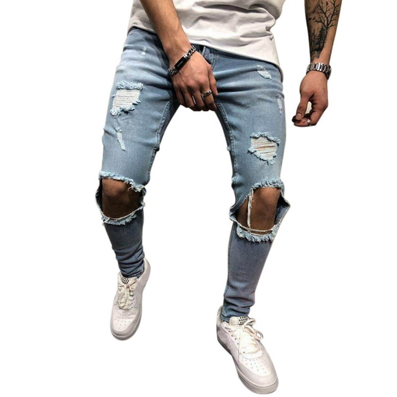 1528e3364dab WENYUJH 2019 Cotton Jean Men s Pants Vintage Hole Cool Trousers Guys Summer  Europe America Style Plus ...