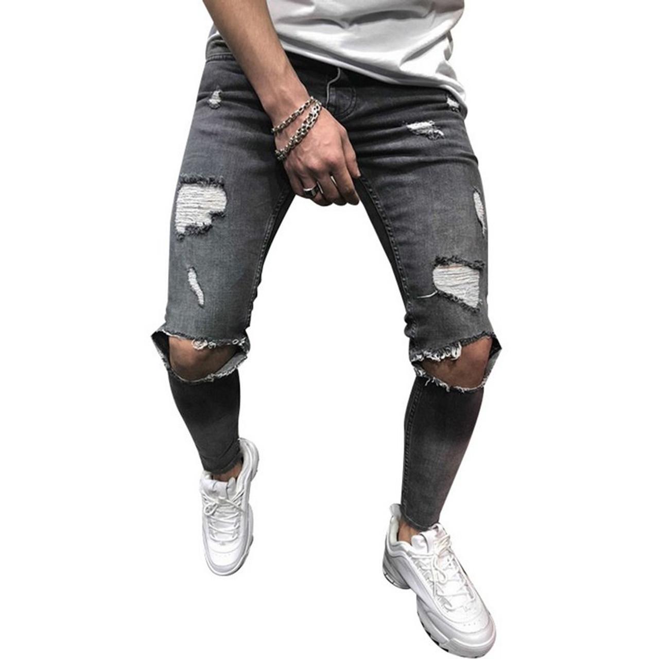de4c41733ee6 ... WENYUJH 2019 Cotton Jean Men s Pants Vintage Hole Cool Trousers Guys  Summer Europe America Style Plus ...