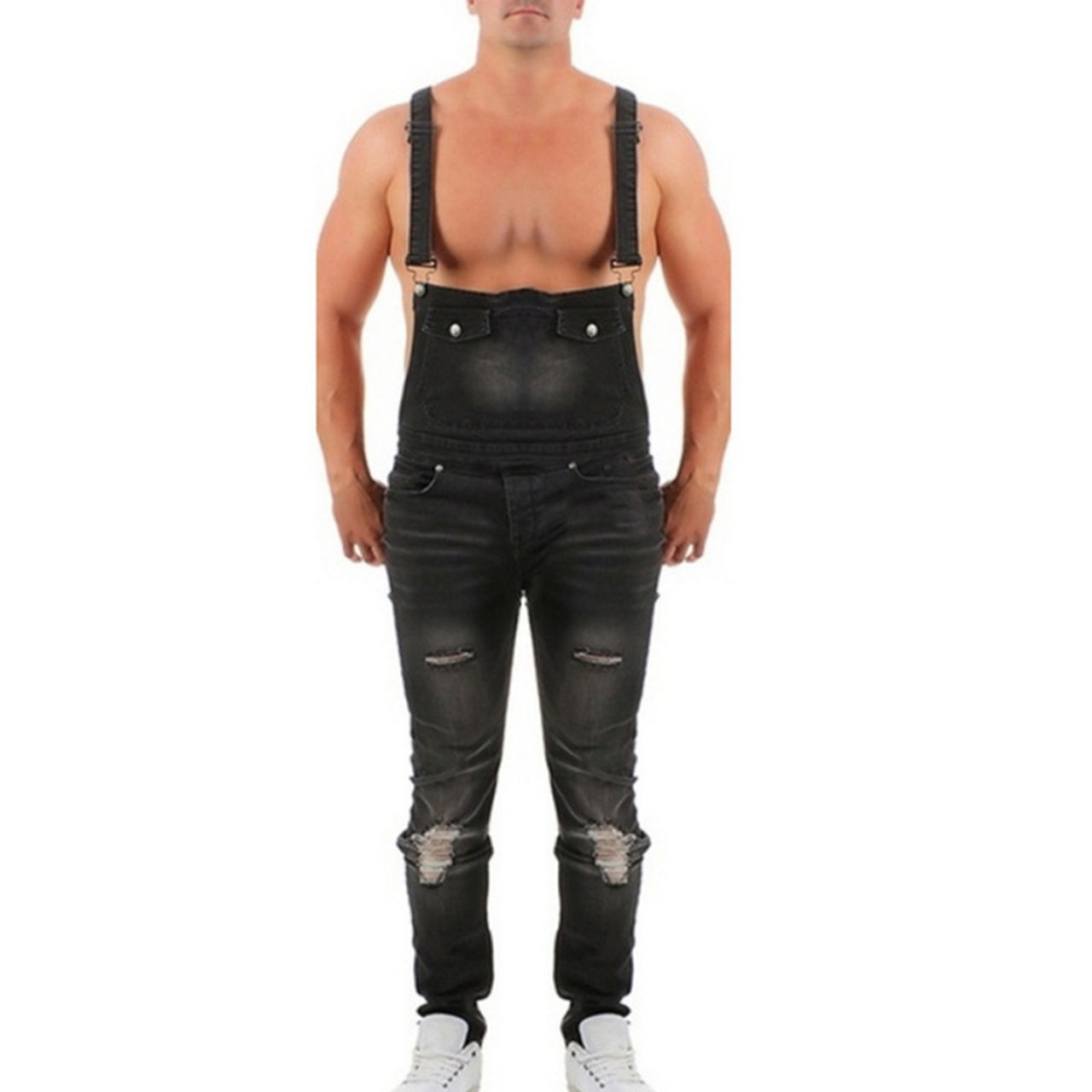 9b6a0cedaeb6 ... MoneRffi Mens Ripped Jeans Jumpsuits Spring Autumn Skinny Distressed  Denim Bib Overalls Male Suspender Pant Streetwear ...