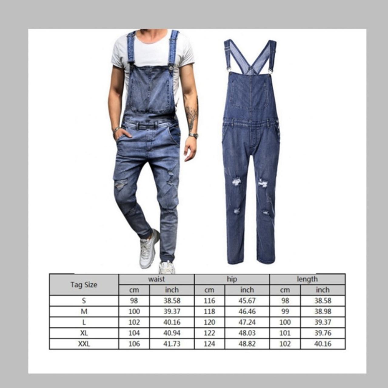 b7429ac1de5f44 MoneRffi Mens Ripped Jeans Jumpsuits Spring Autumn Skinny Distressed Denim  Bib Overalls Male Suspender Pant Streetwear .