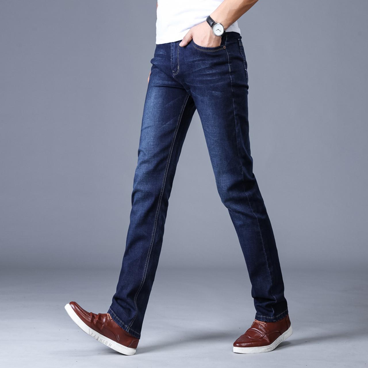 talla 40 a2f06 ccaff Men'S Classic Jeans Brand Large Size Straight Pantalon Homme Jean Slim  Distressed Design Biker Pants Fit Cheap Black Regular