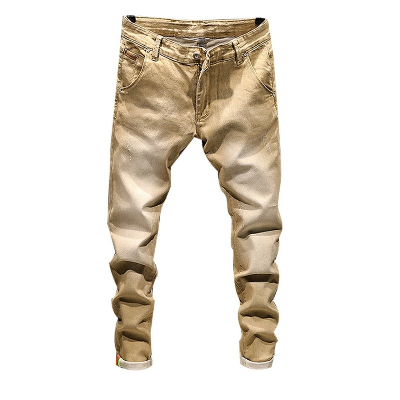 e20663f129e ... Laamei Fashion Skinny Jeans Mens Straight Dark Blue 2018 New Printed Mens  Casual Biker Denim Jean ...