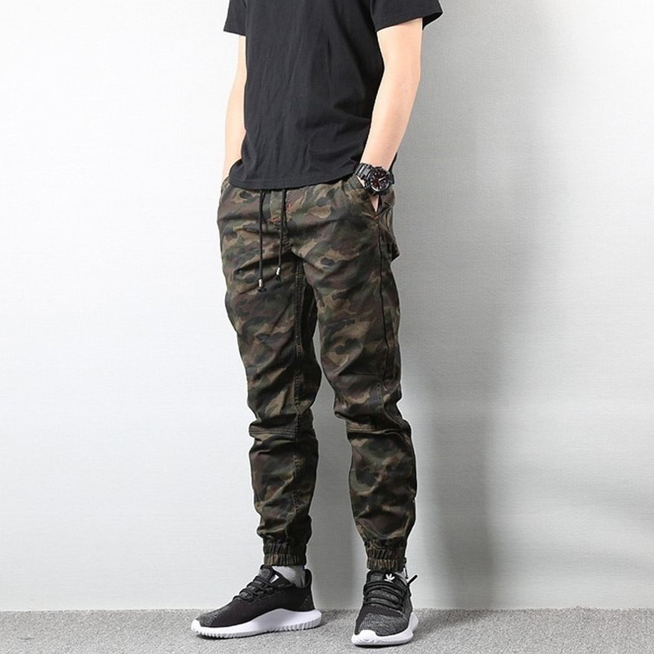 American Street Style Fashion Men's Jeans Jogger Pants Camouflage ...