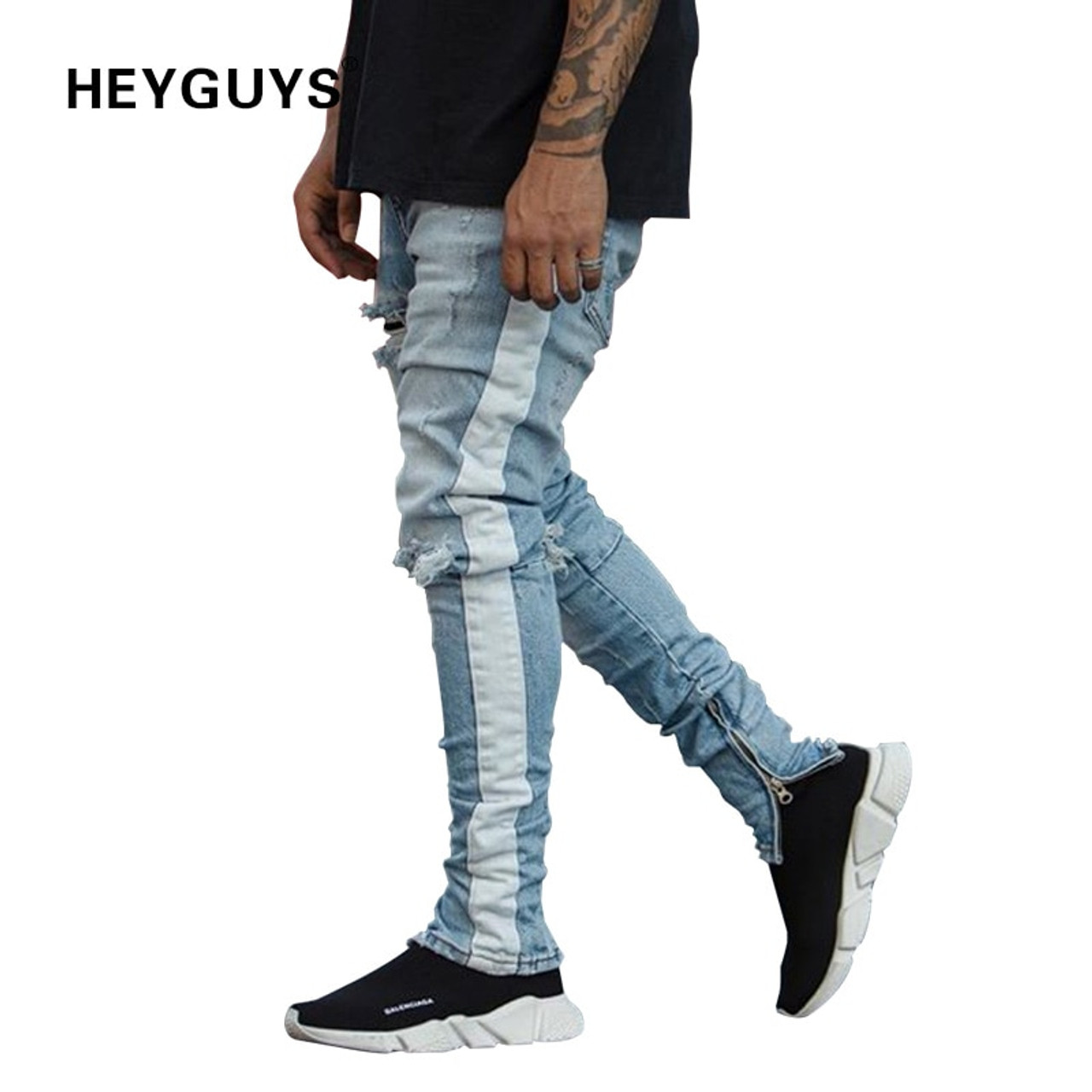 b344d048 HEYGUYS new fashion pants men skinny jeans Men streetwear ripped jeans for  man Fitted Bottoms zipper ...