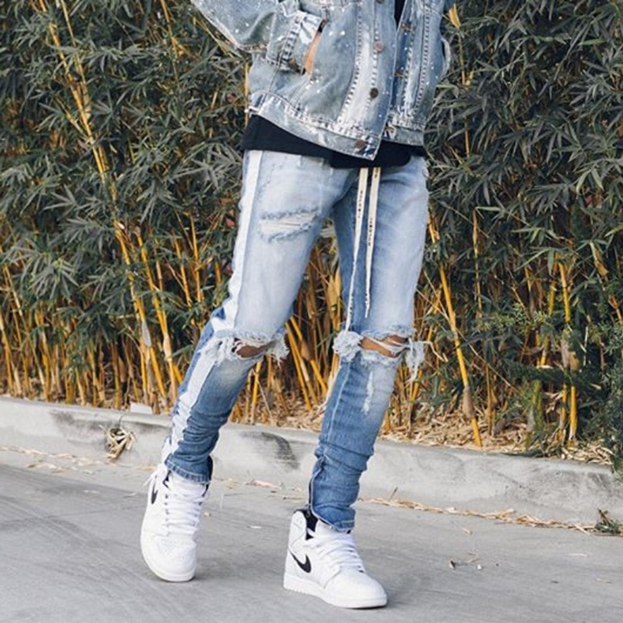 b21d59dd01d ... HEYGUYS new fashion pants men skinny jeans Men streetwear ripped jeans  for man Fitted Bottoms zipper ...