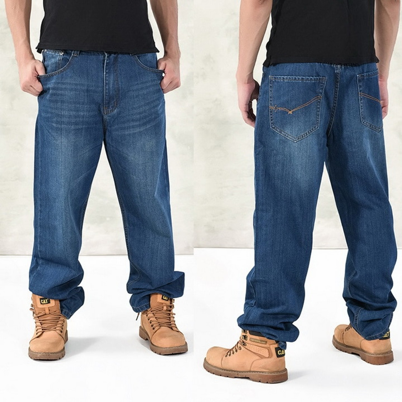 460265f2 ... NEW 2018 Fashion Baggy Style Men's Jeans HipHop Dancers Loose Big  Pocket Boys Skateboard Rap Punk ...
