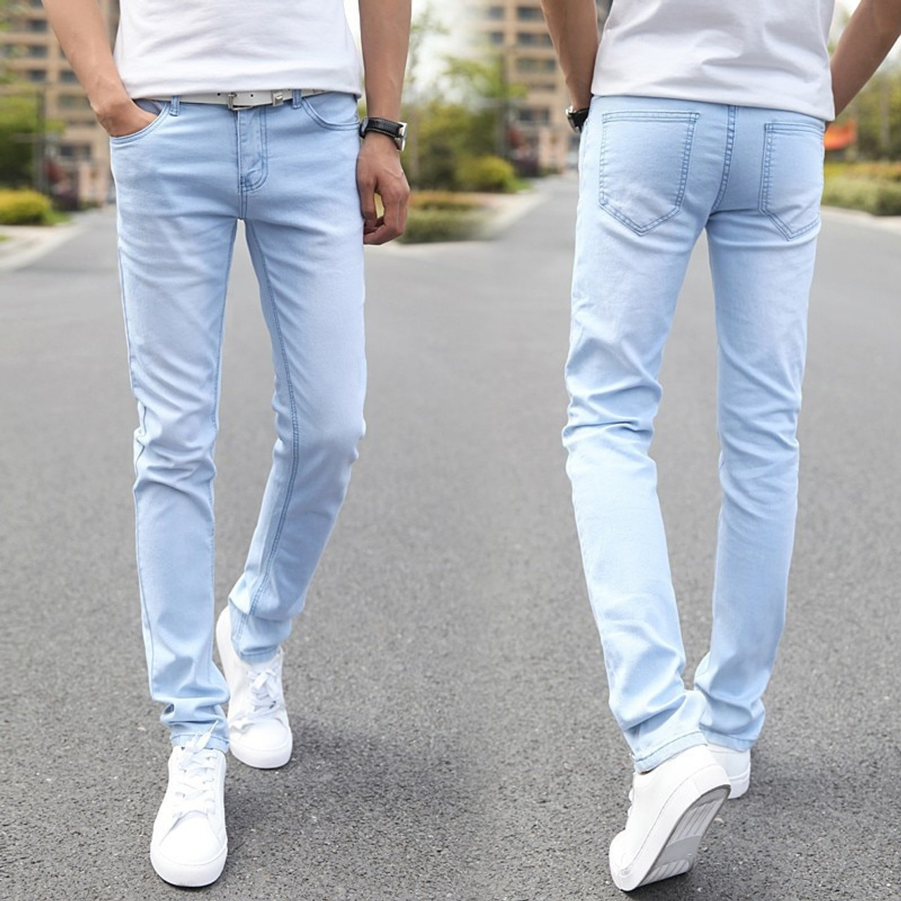 Mens Jeans Fashion Men Casual Pencil Jeans Slim Straight Mid Waist Long Trousers