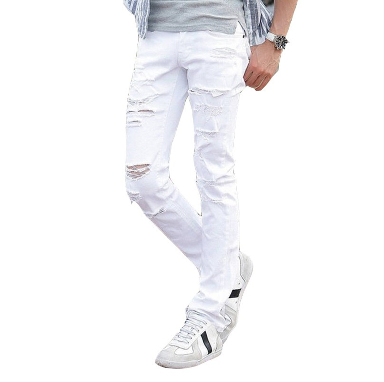 17e595da7c fashion Ripped Jeans Men With Holes Super Skinny Designer white Slim Fit  Jean Pants For Man ...