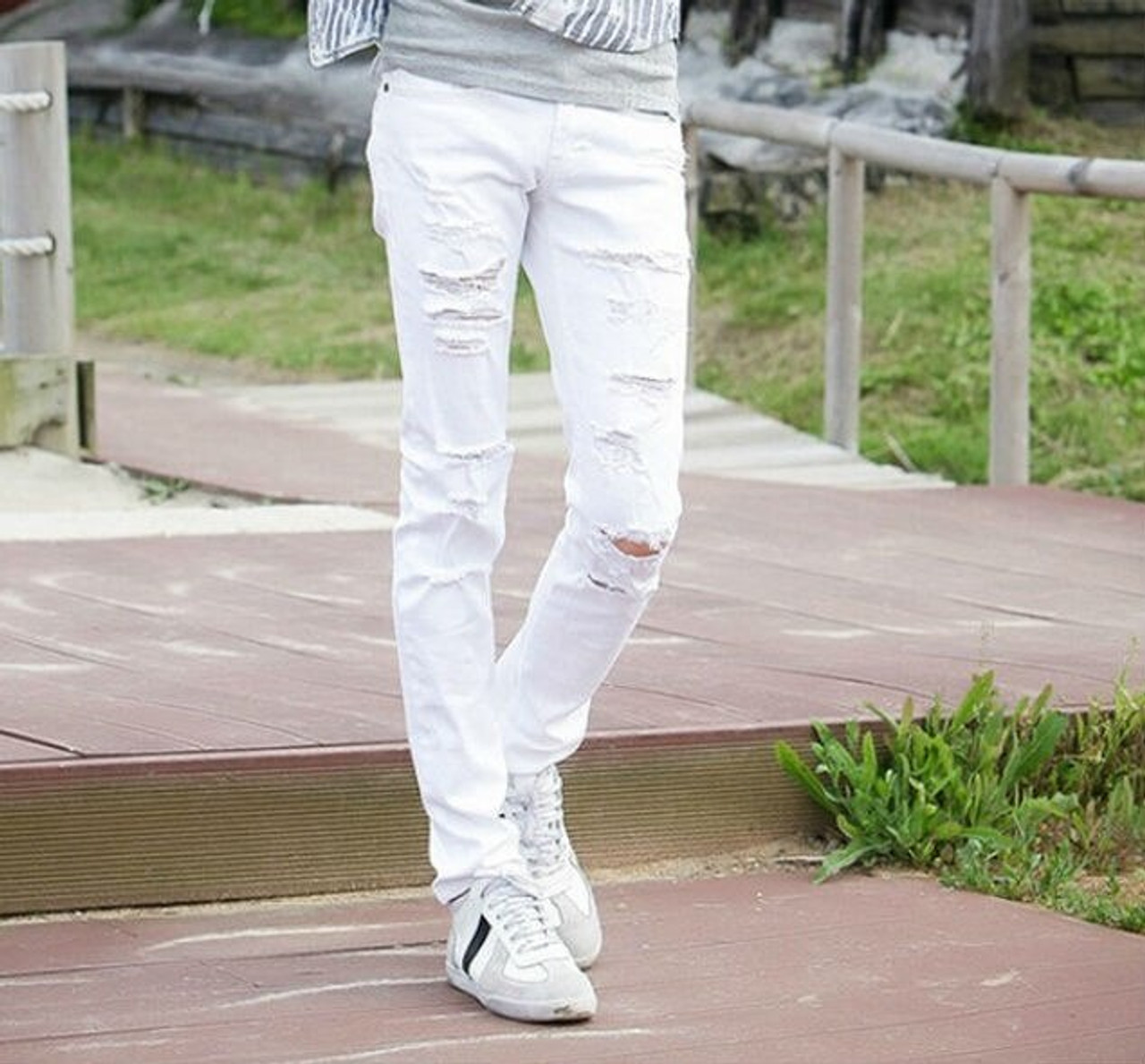 0526ec4f80 ... fashion Ripped Jeans Men With Holes Super Skinny Designer white Slim  Fit Jean Pants For Man ...