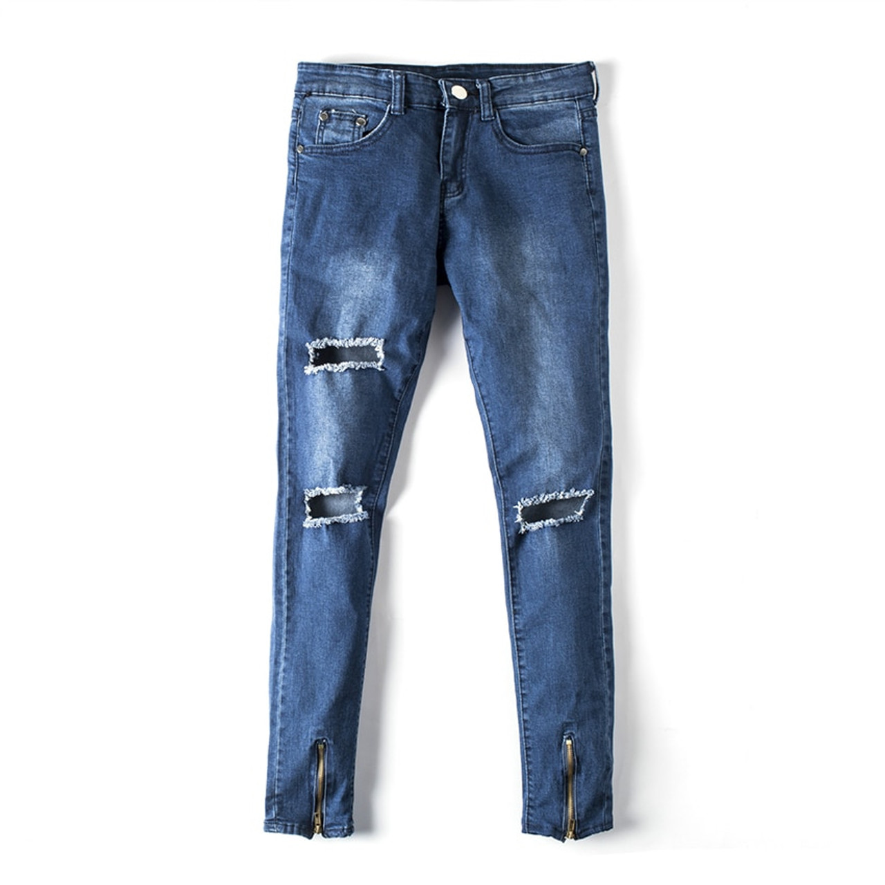 9b1e93a919dc ... Newest Men Hip Hop Zipper Ripped Biker Jeans Fashion Slim Fit  Motorcycle Jeans Men Distressed Biker ...