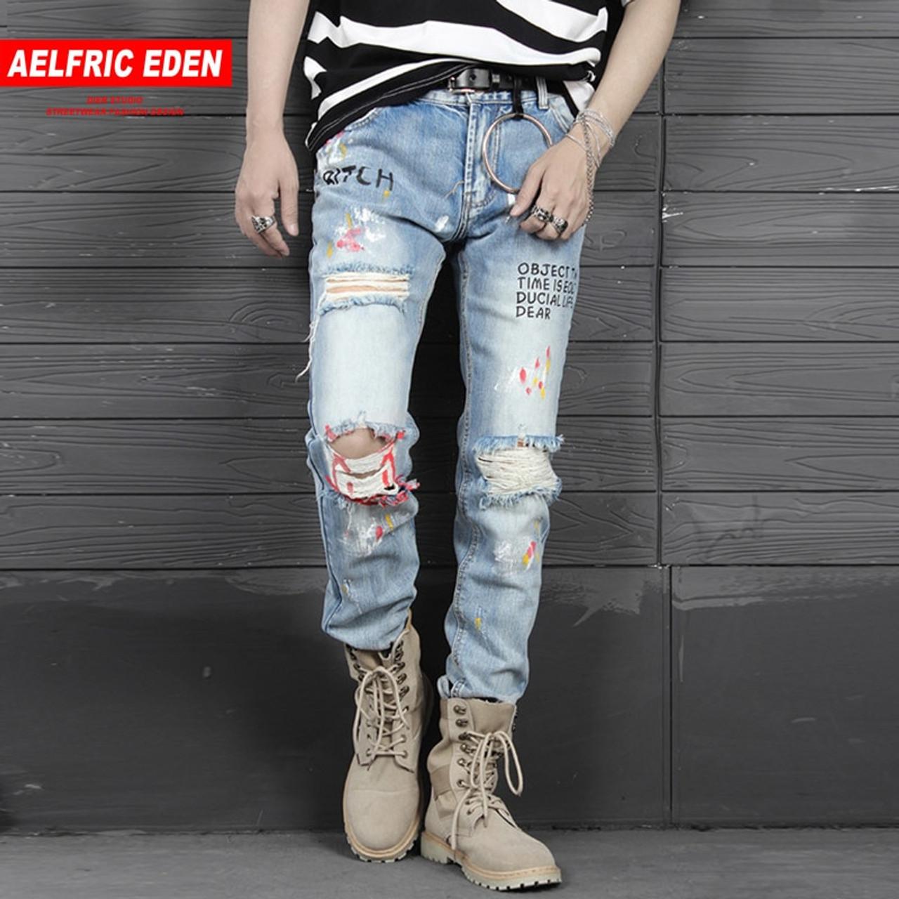 c284189e ... Aelfric Eden Mens Biker Jeans Fashion Casual Pants Graffiti Ripped Hole  2018 Distressed Slim Denim Jean ...
