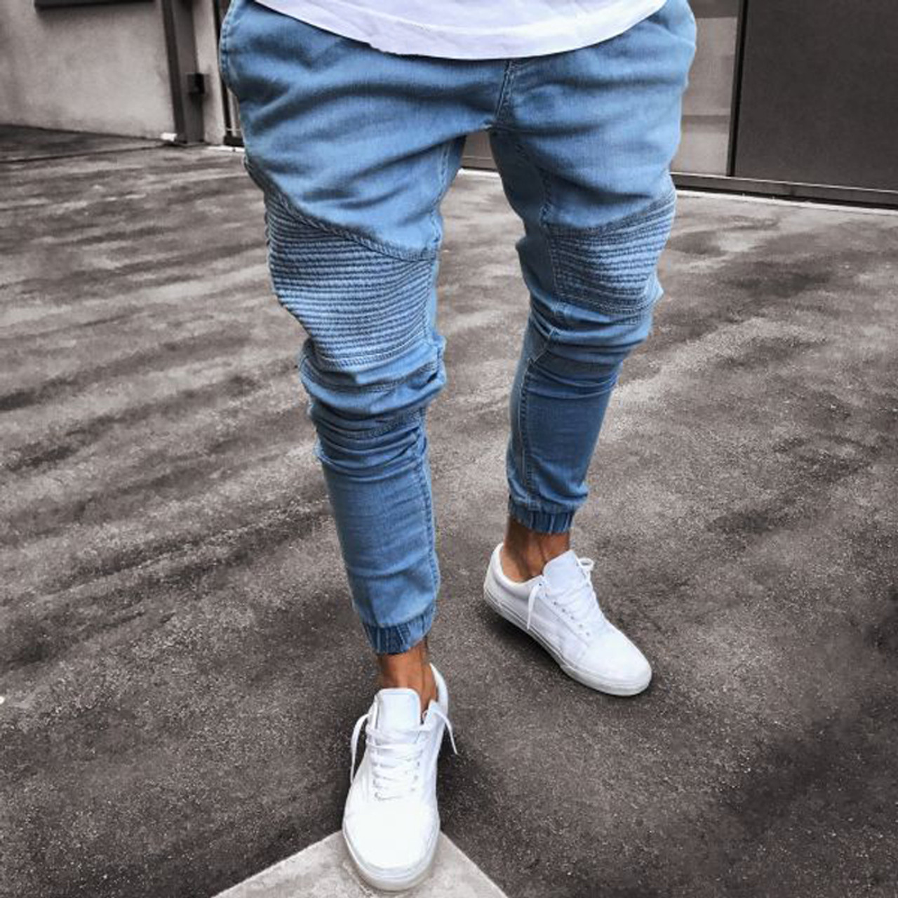 00ff518b 2018 Men Distressed jeans pleated skinny biker trousers black blue jeans  with Pleated patchwork slim fit ...
