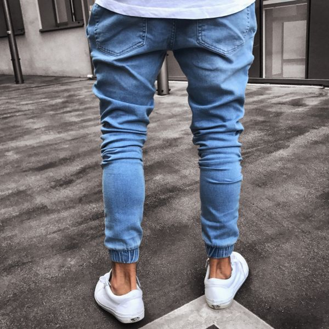 717491ba ... 2018 Men Distressed jeans pleated skinny biker trousers black blue jeans  with Pleated patchwork slim fit ...