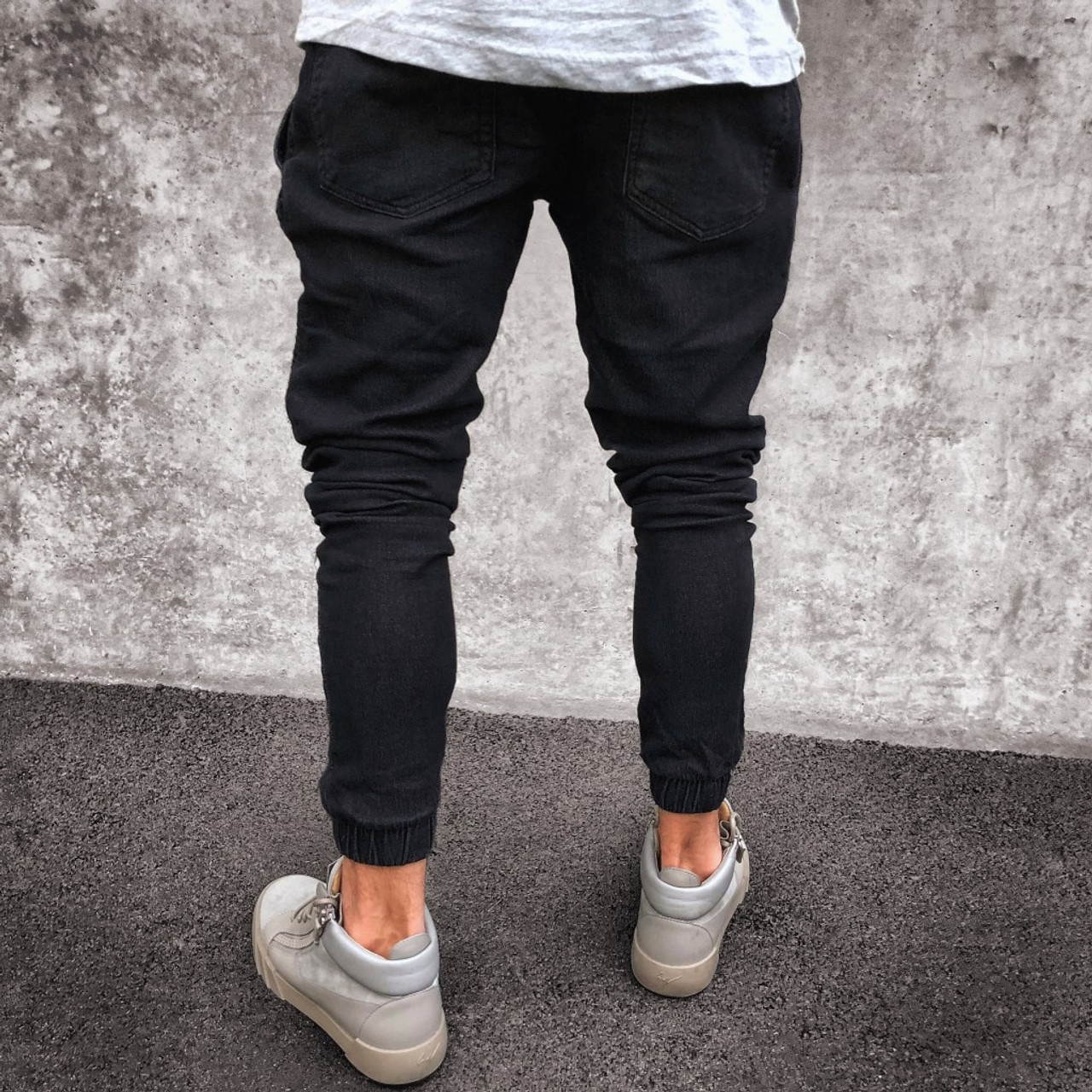 caa5e99e ... 2018 Men Distressed jeans pleated skinny biker trousers black blue jeans  with Pleated patchwork slim fit