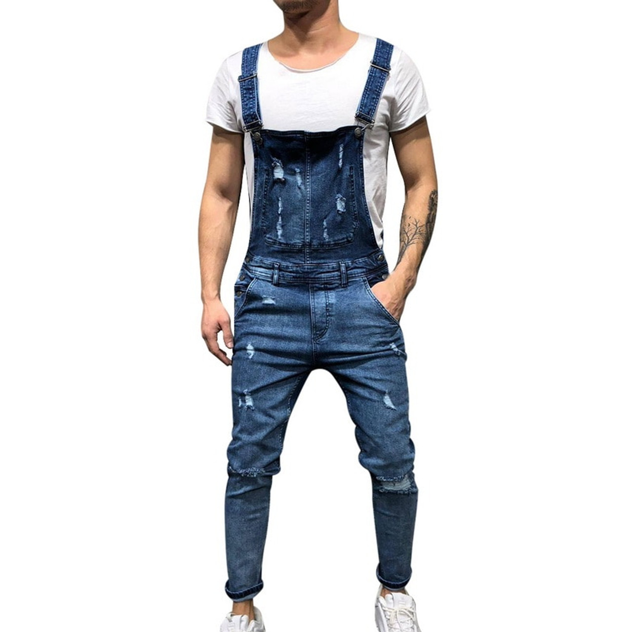 aa7648466ce WENYUJH 2019 Fashion Men s Ripped Jeans Jumpsuits Street Distressed Hole  Denim Bib Overalls For Man Suspender ...