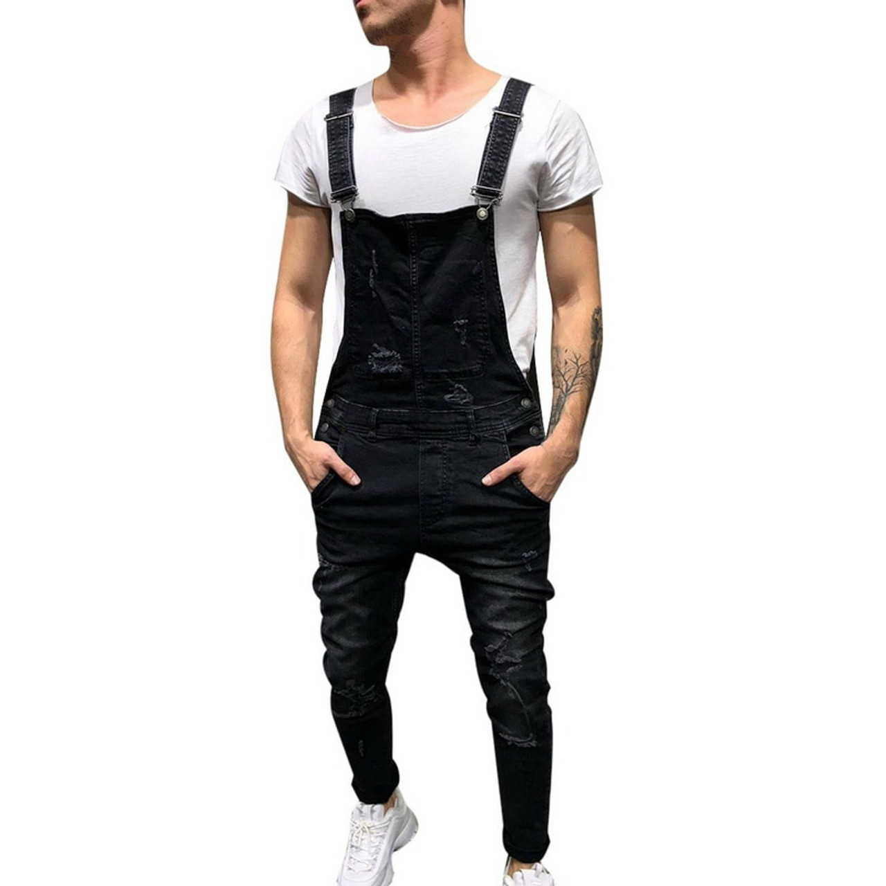 d0d35155ab ... WENYUJH 2019 Fashion Men s Ripped Jeans Jumpsuits Street Distressed Hole  Denim Bib Overalls For Man Suspender ...
