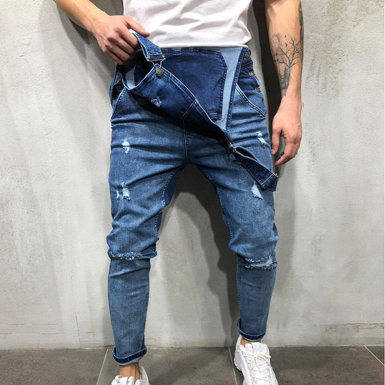 New Men/'s Sim Ripped Holes Denim Jeans Casual Suspender Fashion Pants Overalls