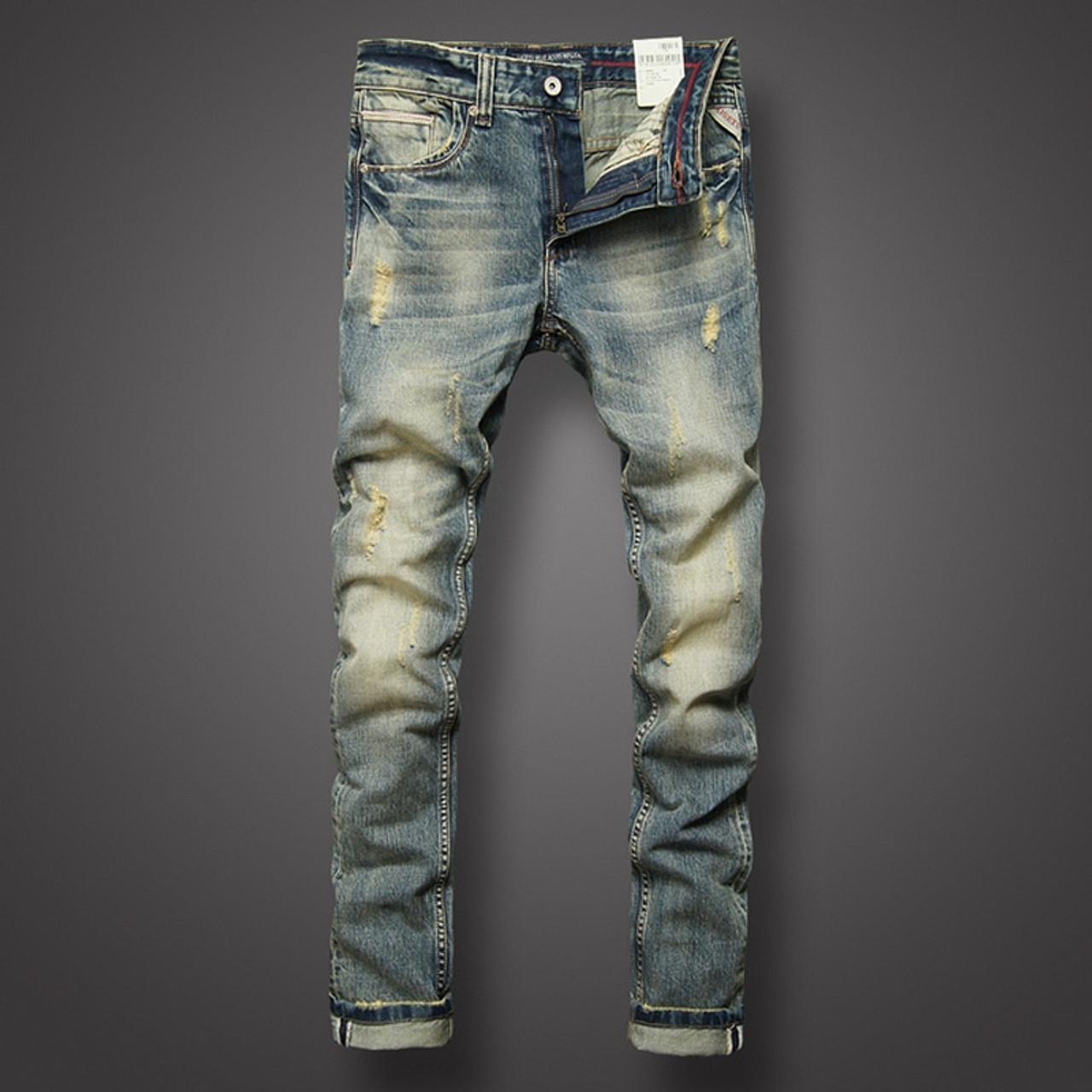 1b769bf36a0 ... Italian Style Fashion Mens Jeans Retro Design Slim Fit Denim Ripped  Jeans Mens Pants Brand Clothing ...