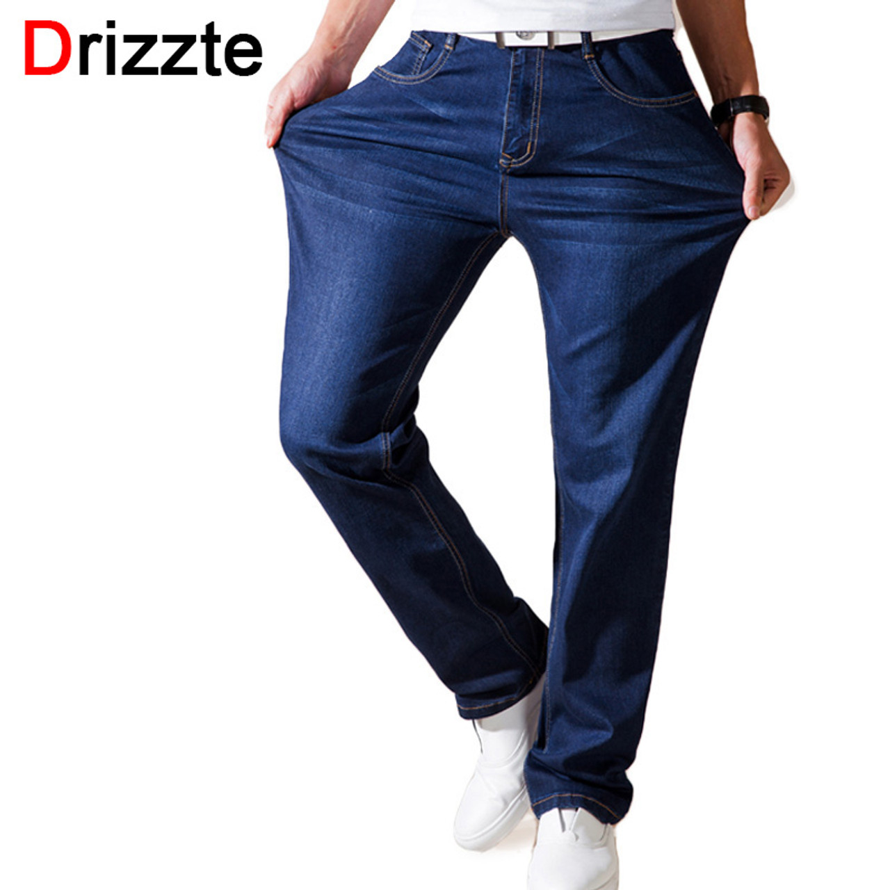 d5a5b6a1cd2 Drizzte Summer Thin Jeans Fashion Mens Stretch Denim Jean Loose Fit Relax Denim  Trousers Pants Jean ...