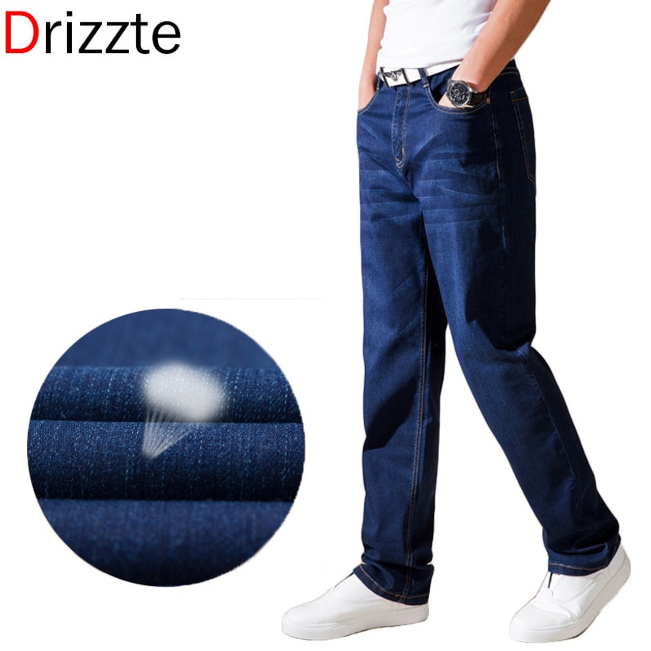 896f172b5e6 ... Drizzte Summer Thin Jeans Fashion Mens Stretch Denim Jean Loose Fit  Relax Denim Trousers Pants Jean ...