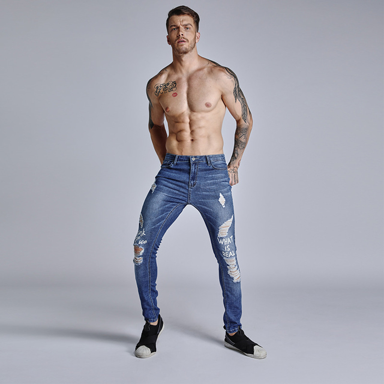 Ripped Hole Jeans Skinny Fit Slim Jeans Men Pantalon Vaquero Hombre Denim Trousers Men Hip Hop Pants Ripped Jeans For Men Onshopdeals Com