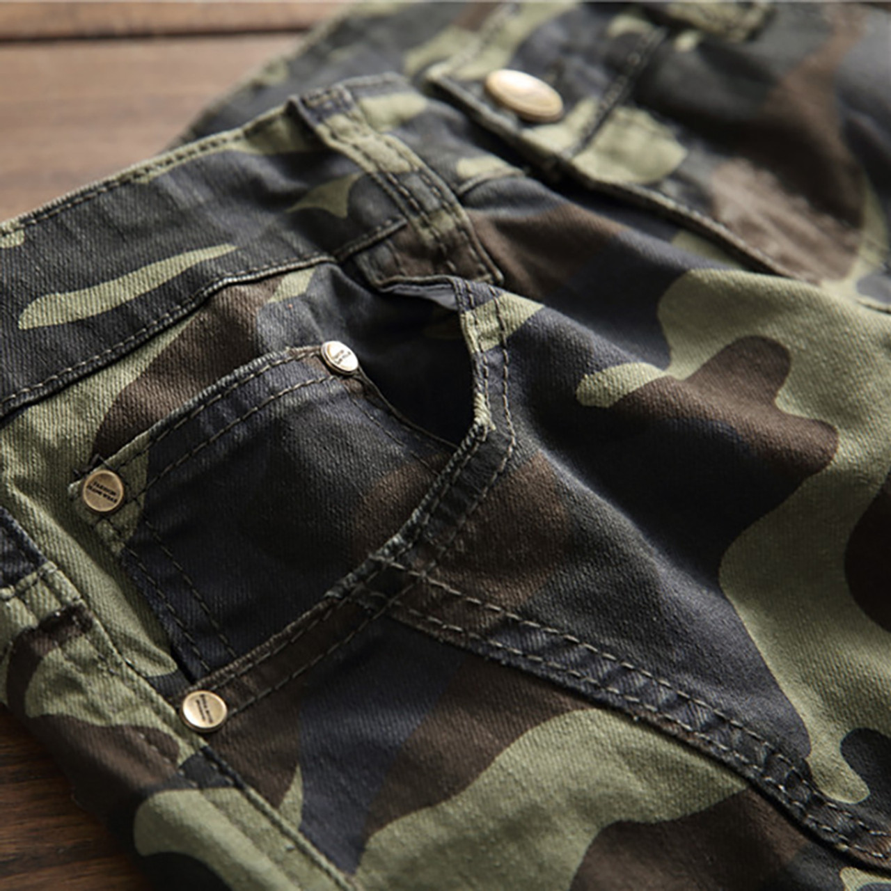 212480b5247 ... Sokotoo Men s camouflage printed biker jeans for moto Slim fit patchwork  pockets denim cargo pants ...