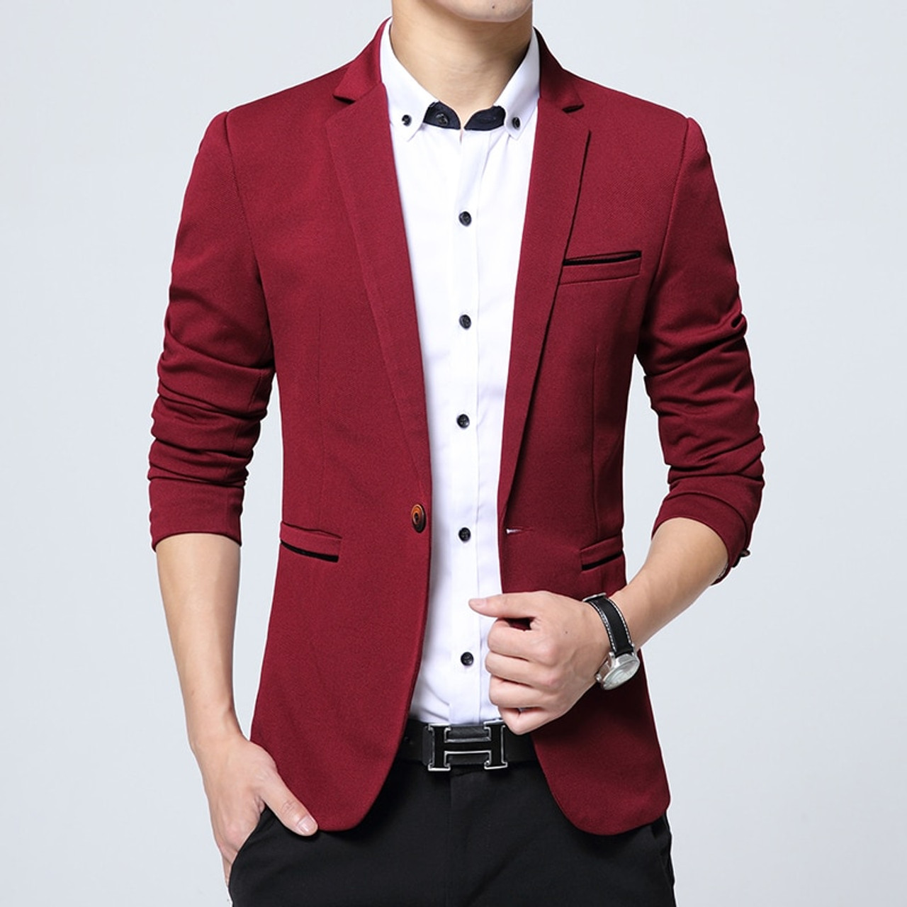 c890f779f42e Korean Suits For Men Slim Fit Casual Business Blazer Wedding Dress Blazer  Jacket Mens Formal Jacket ...