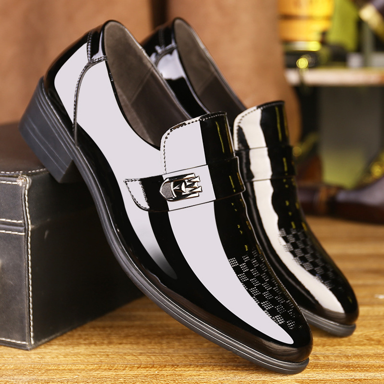 Mens Pointy Toe Patent Leather Slip On Business Formal Wedding Black Dress Shoes