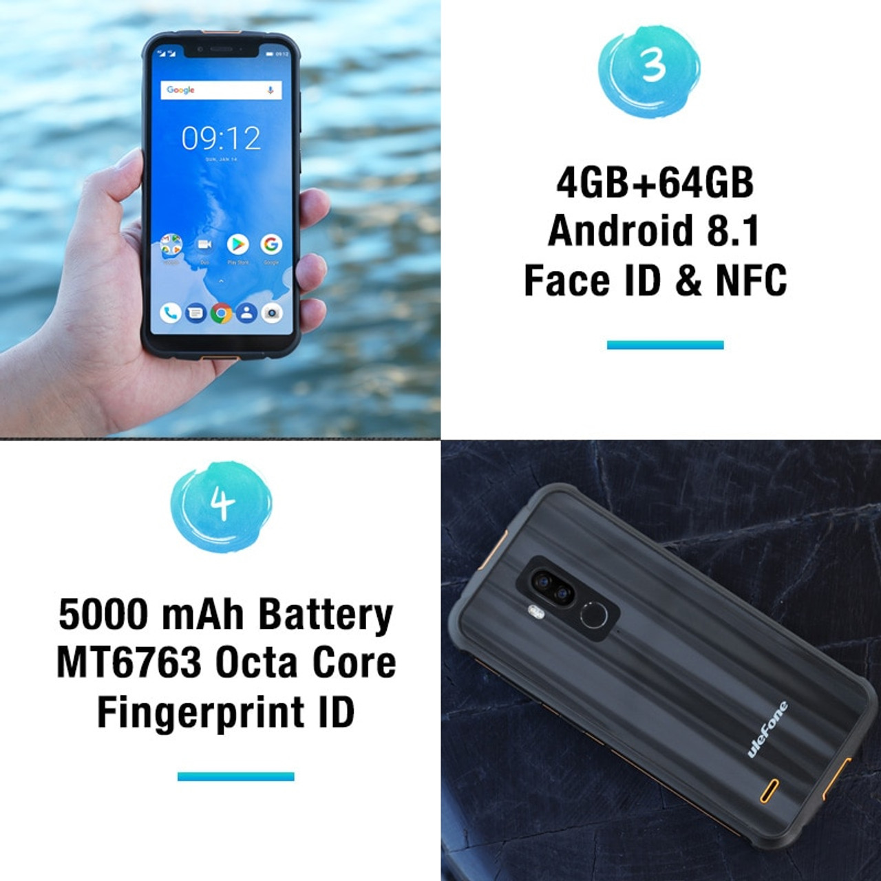 ulefone armor 5 ip68 waterproof 4gb 64gb cellphone android 8 1 5 85