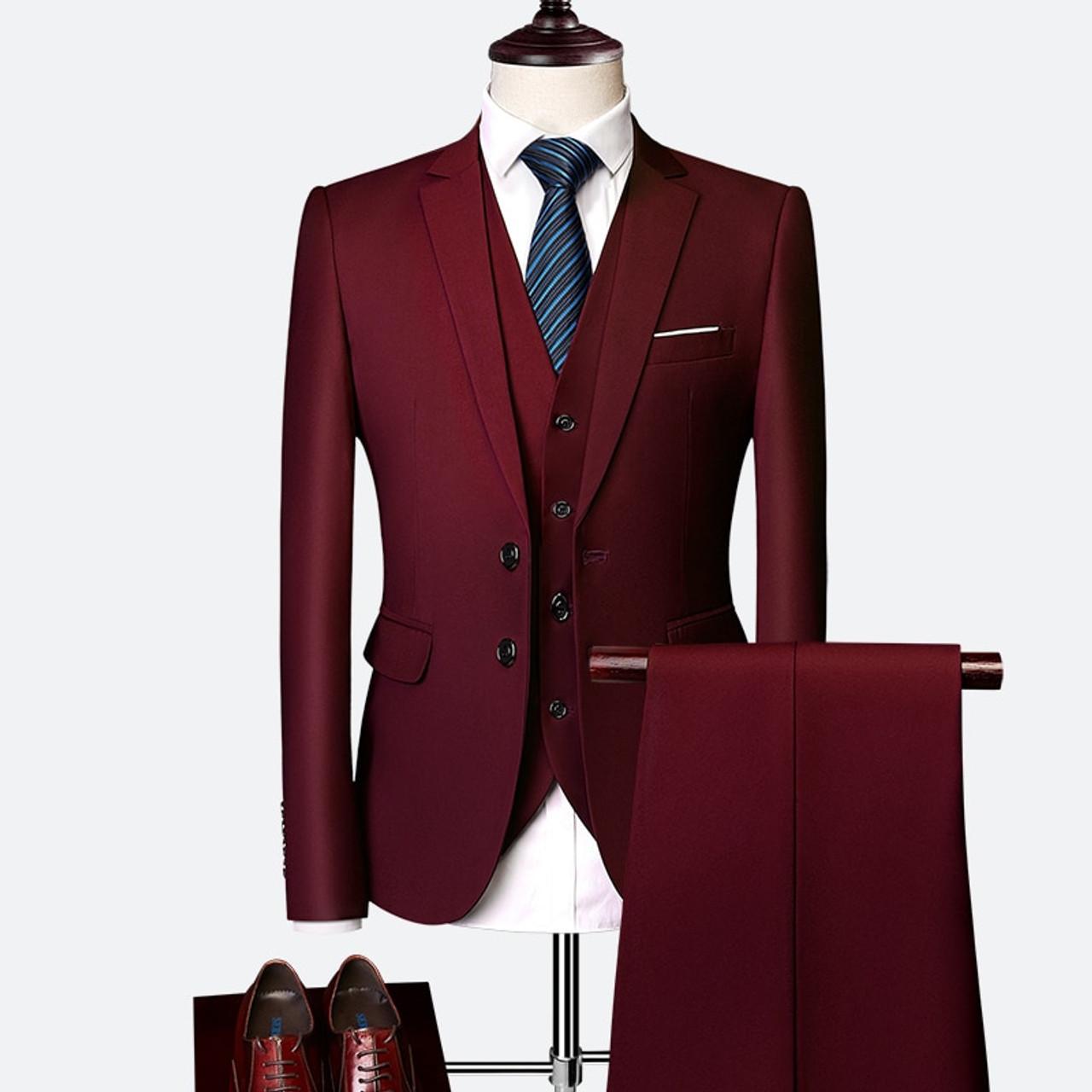 8f3c1198c0 Plyesxale 3 Piece Wedding Suits For Men Slim Fit Men's Suits Formal  Burgundy Green Purple Yellow Red White Man Suit 5XL 6XL Q63