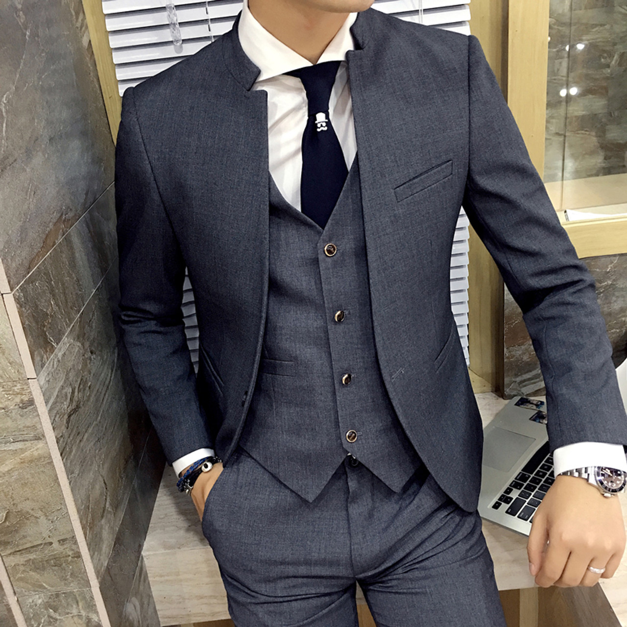 convenience goods buying now enjoy cheap price Unique Mens Mandarin Collar Suit Black Chinese Collar Mandarin Style Grey  Mens Formal Suits Men Wedding Suit