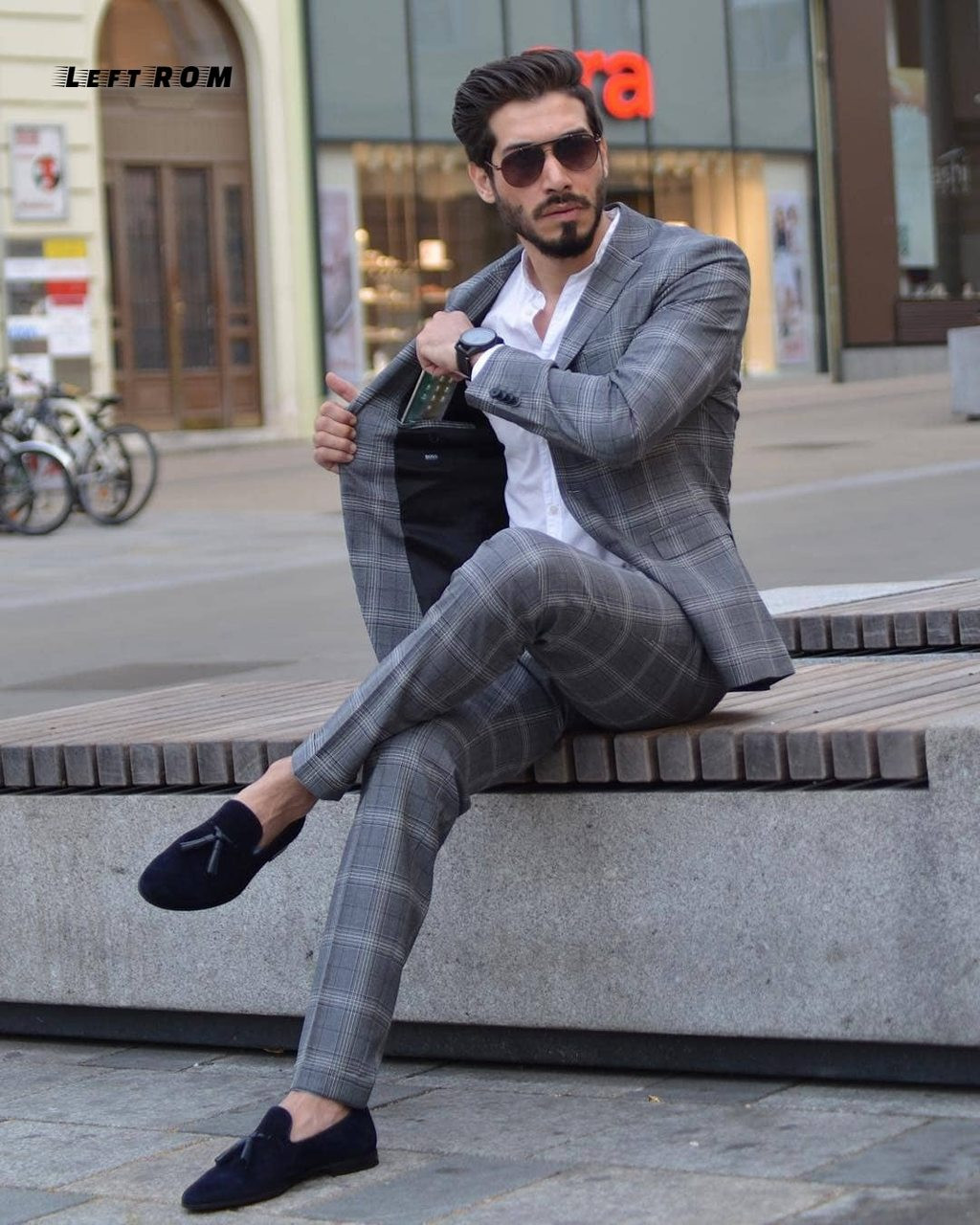 Boys slim fit suit navy dark blue formal wedding complete set long tie vest pant