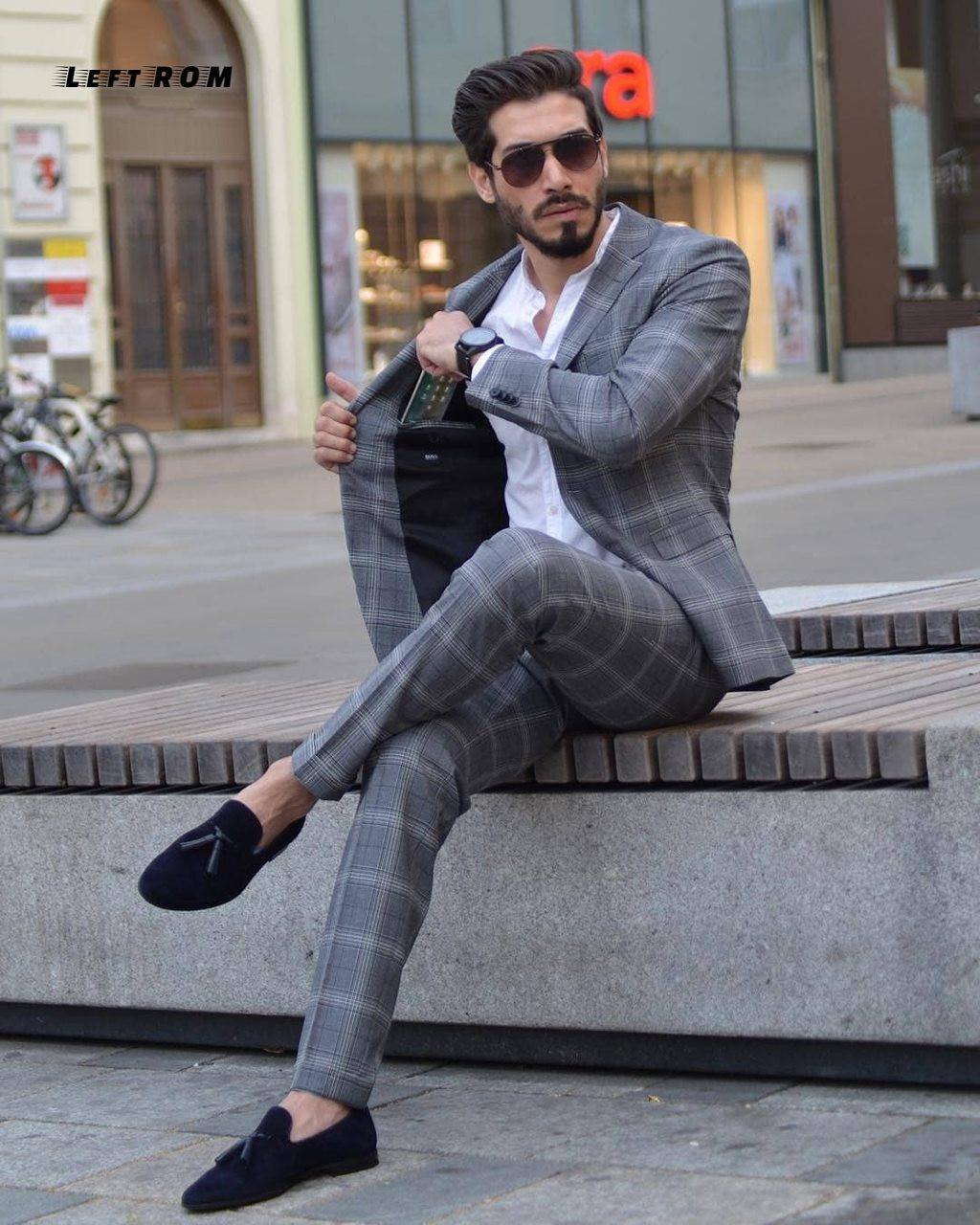 36bb04ea5 Jacket+Vest+Pants) Plaid Mens Wedding Suit Male Blazers Slim Fit ...