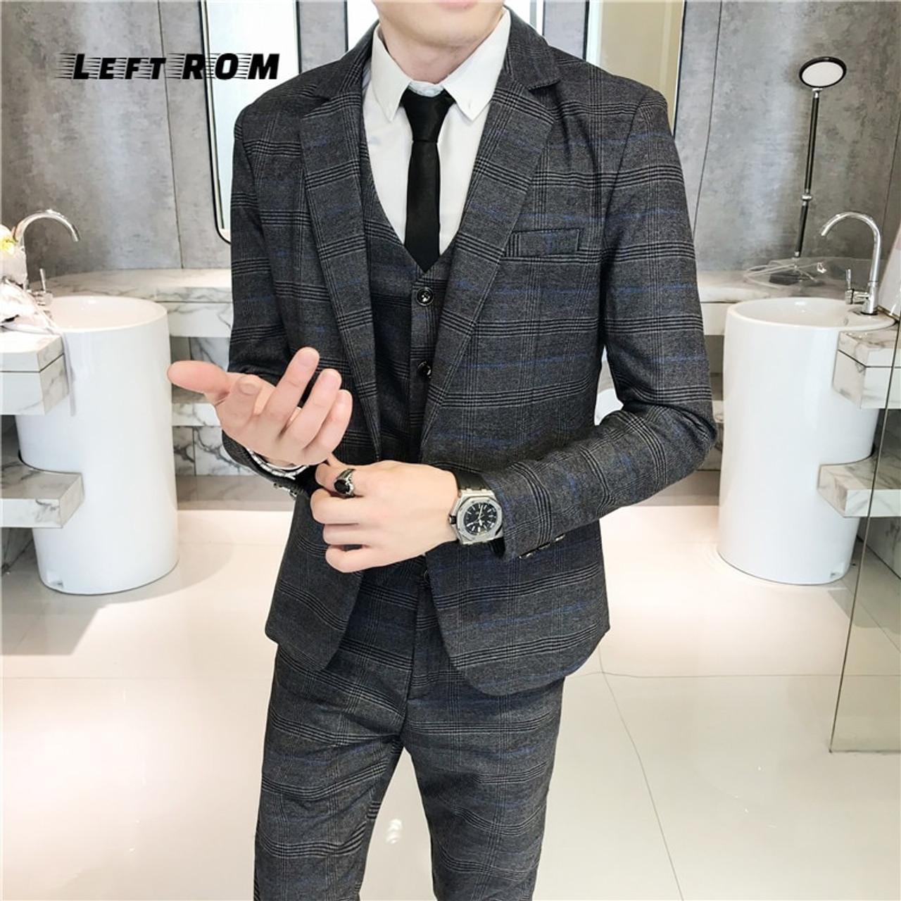 a708c0d5cc2 ... (Jacket+Vest+Pants) Plaid Mens Wedding Suit Male Blazers Slim Fit Suits  ...