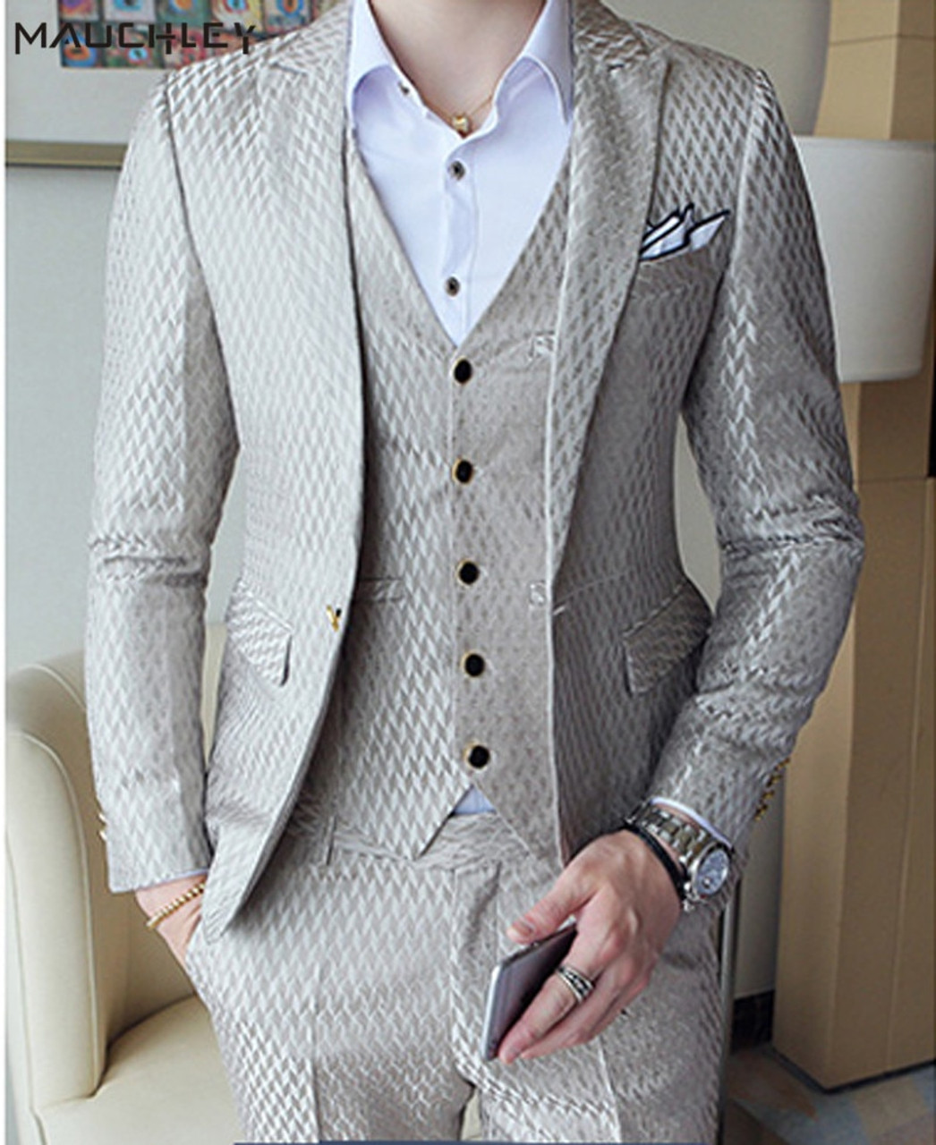 Boys Plaid Tuxedo Suit Slim Fit Dresswear 3 Pieces Blazer Pants Vest