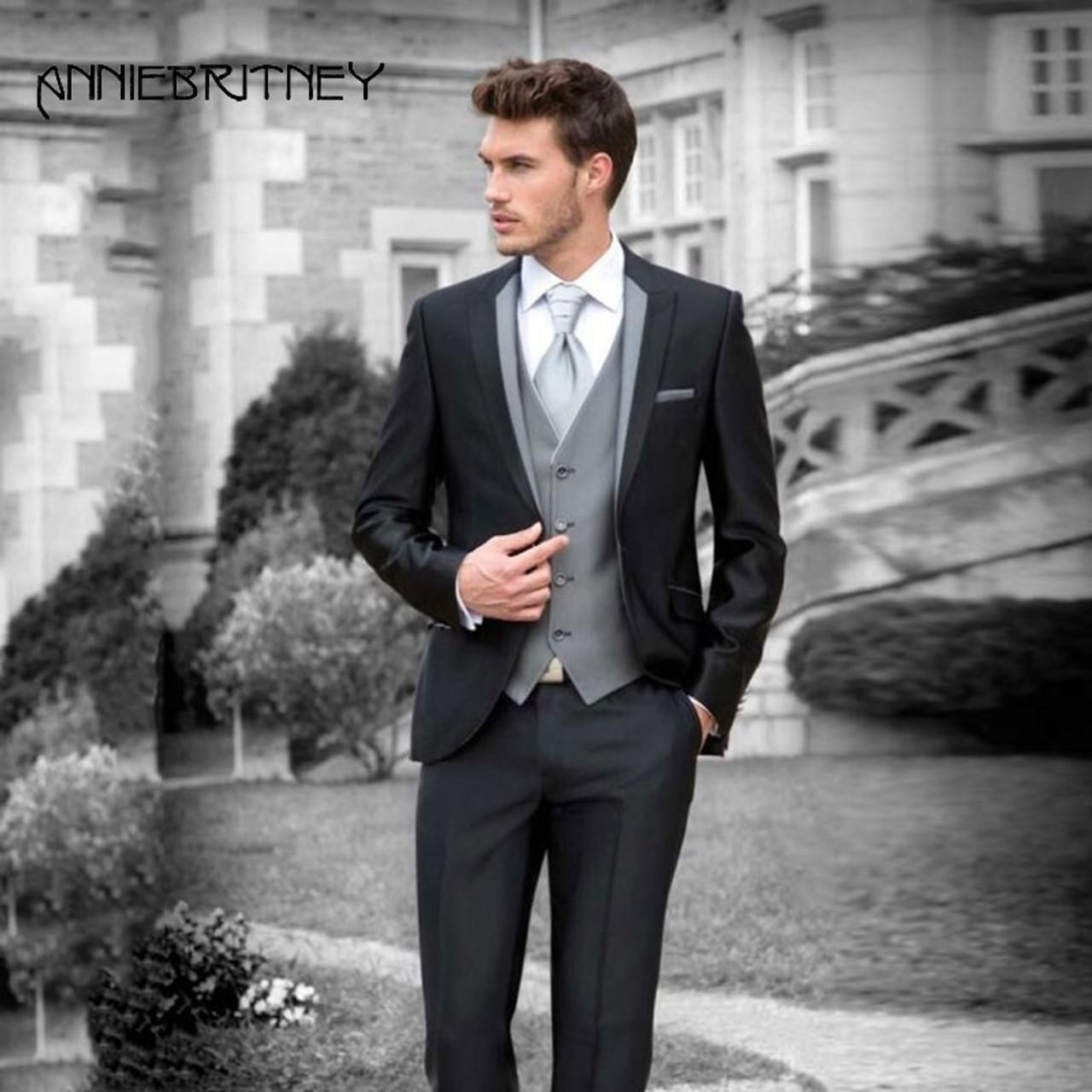 5531e9b9374b ... Retro Italian Black Wedding Suits for Men Grey Vest Slim Fit Terno  Masculino Groom Tuxedo 3 ...