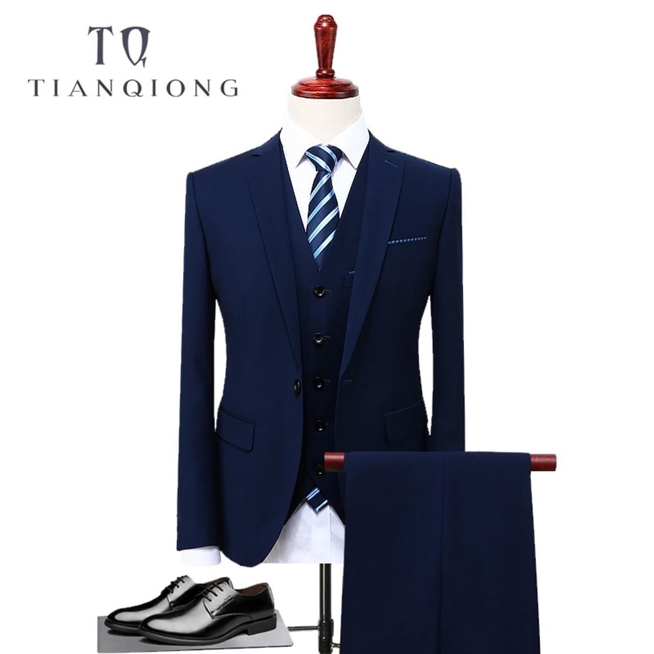 b1e2df82dee TIAN QIONG Blue 3 Piece Suit Men Korean Fashion Business Mens Suits  Designers 2018 Slim Fit ...