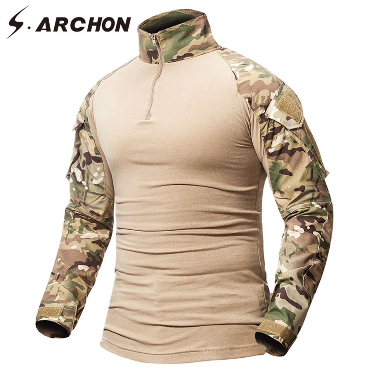 Mens Tactical Army T Shirt Airsoft Combat Military Long Sleeve Shirt Camouflage