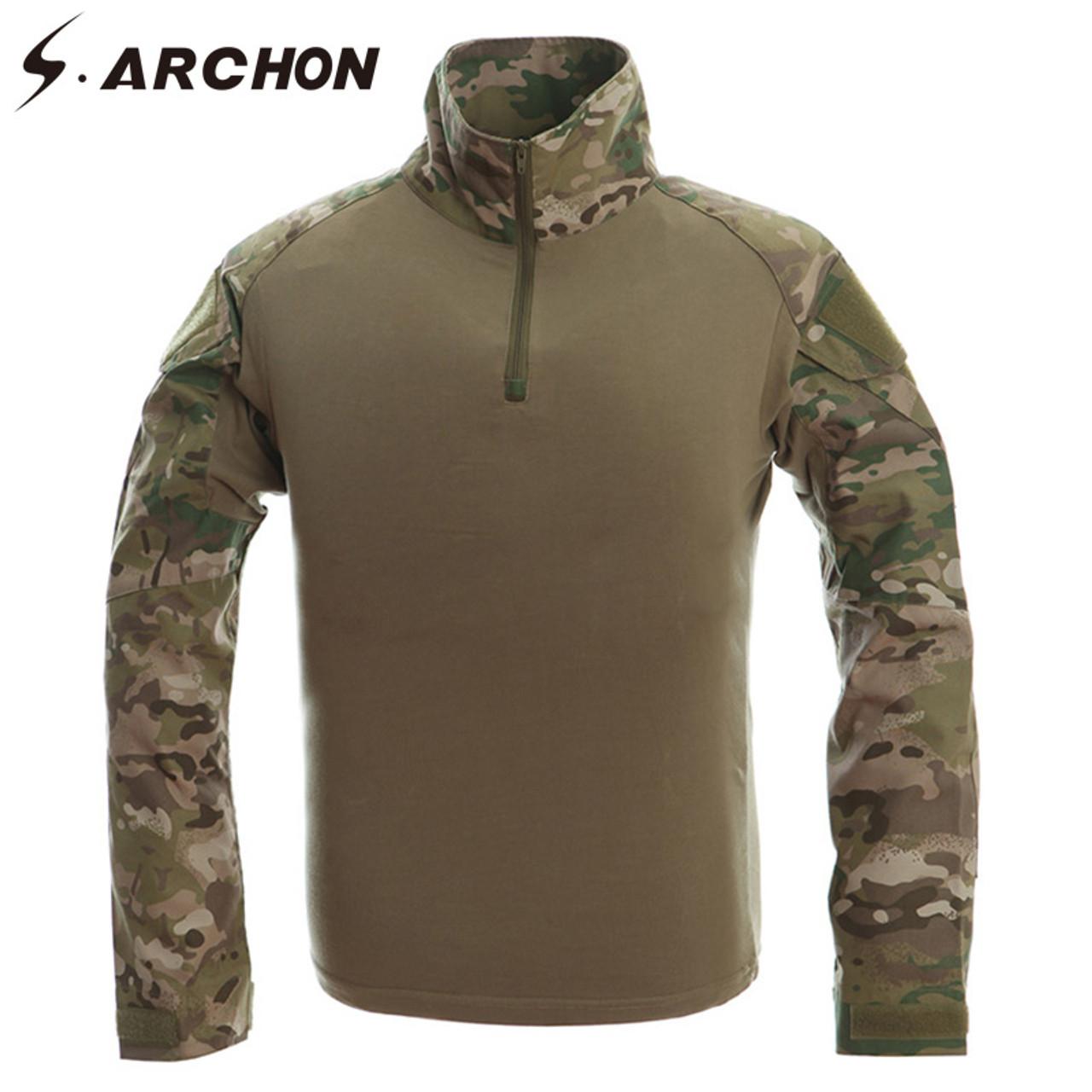 07255c052920 ... S.ARCHON Tactical Military Army Shirt Men Long Sleeve Shirts Multicam  Uniform Frog Suit T ...
