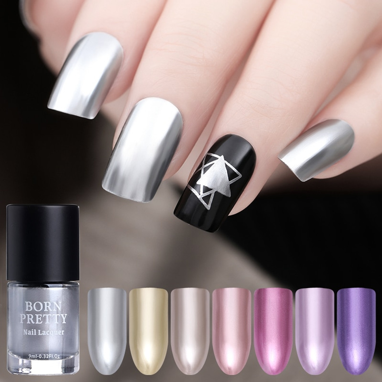 Born Pretty 9ml Mirror Effect Metallic Nail Polish Purple Rose Gold Silver For Stamping Chrome Manicure Nail Art Varnish Onshopdeals Com