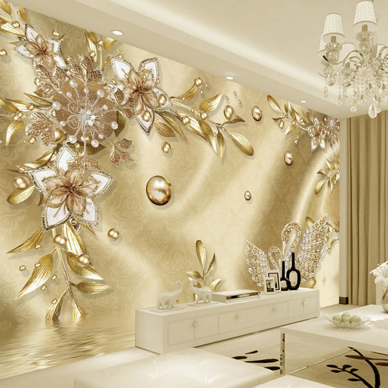 European Style Luxury Golden 3D Flower Jewelry Damascus Pattern Background Decoration Mural Wallpaper For Living Room