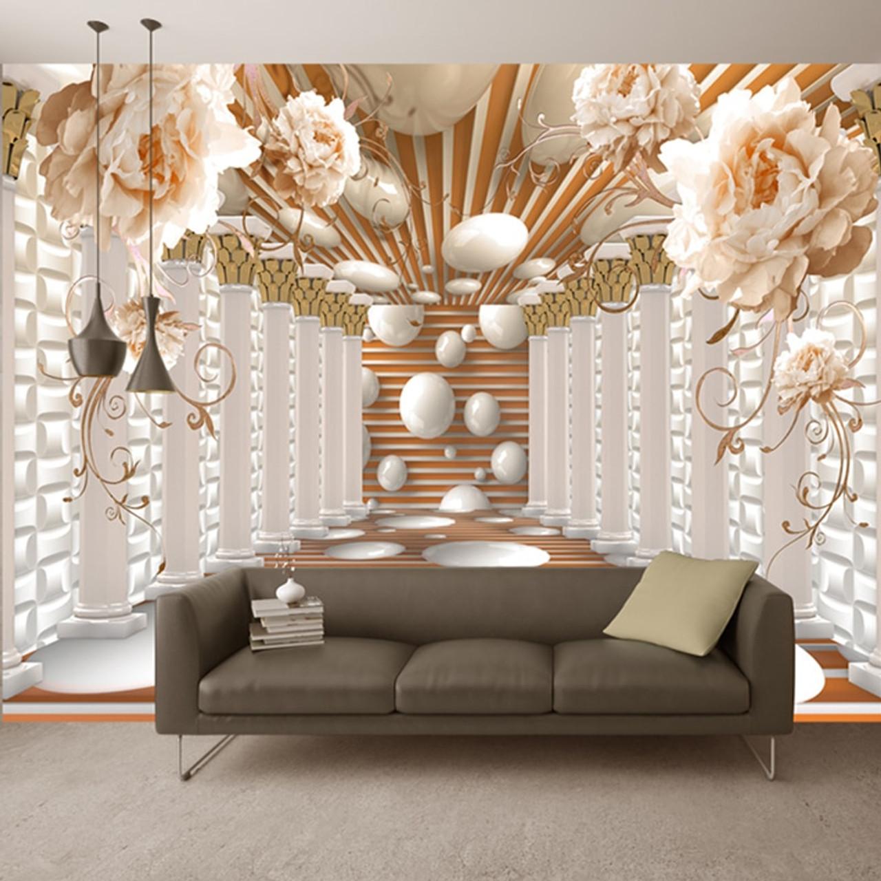 3D Wallpaper Modern Abstract Art Rome Column Flower Photo ...