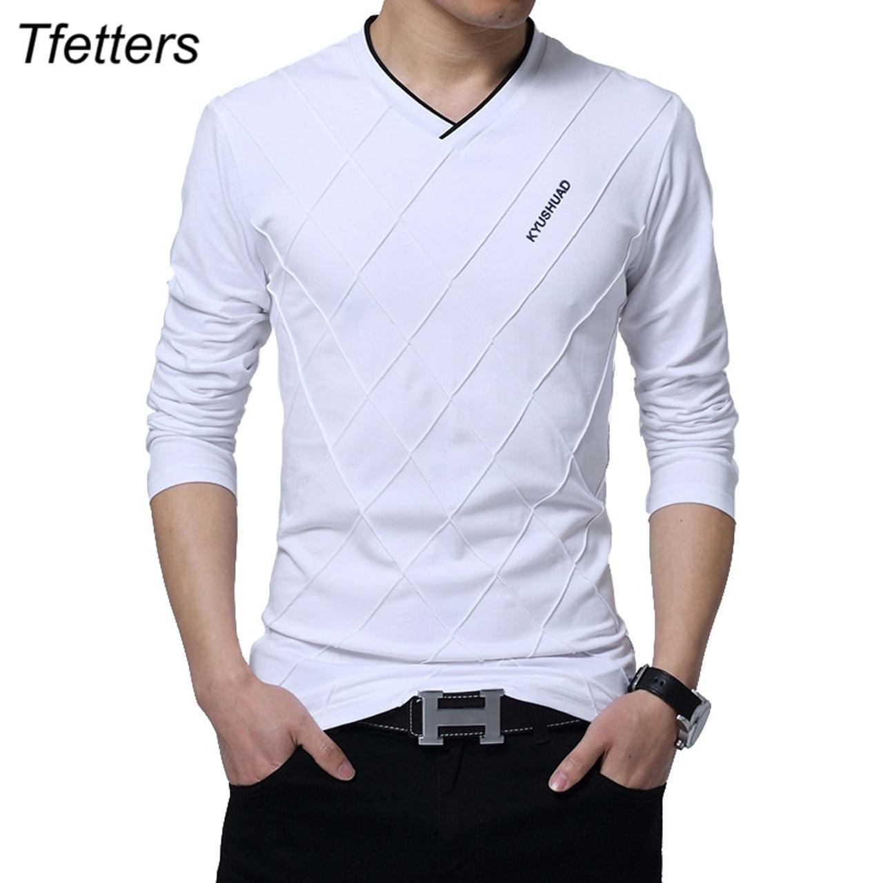 Tfetters Fashion Men T Shirt Slim Fit Custom T Shirt Crease Design Long Stylish Luxury V Neck Fitness T Shirt Tee Shirt Homme Onshopdeals Com