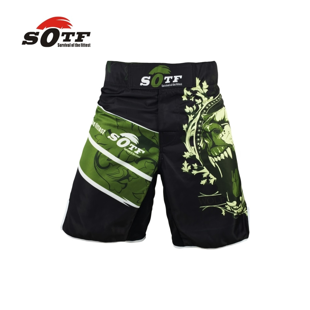 NEON GREEN /'LOVE BOXING/' SHORTS TRUNKS FOR THAIBOXING KICKBOXING TRAINING