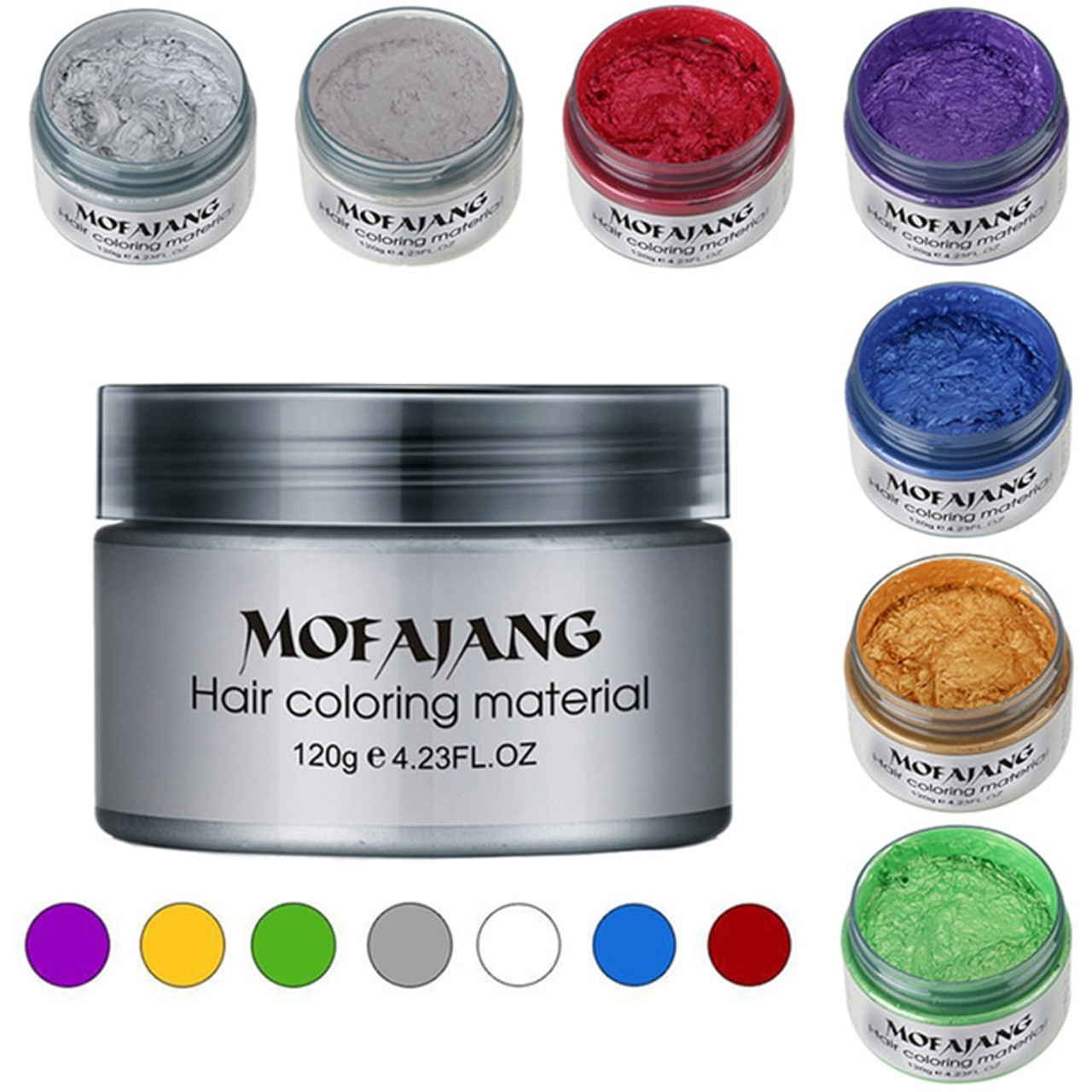 MOFAJANG Hair Color Styling Promades Wax Silver Ash Grey Strong Hold ...