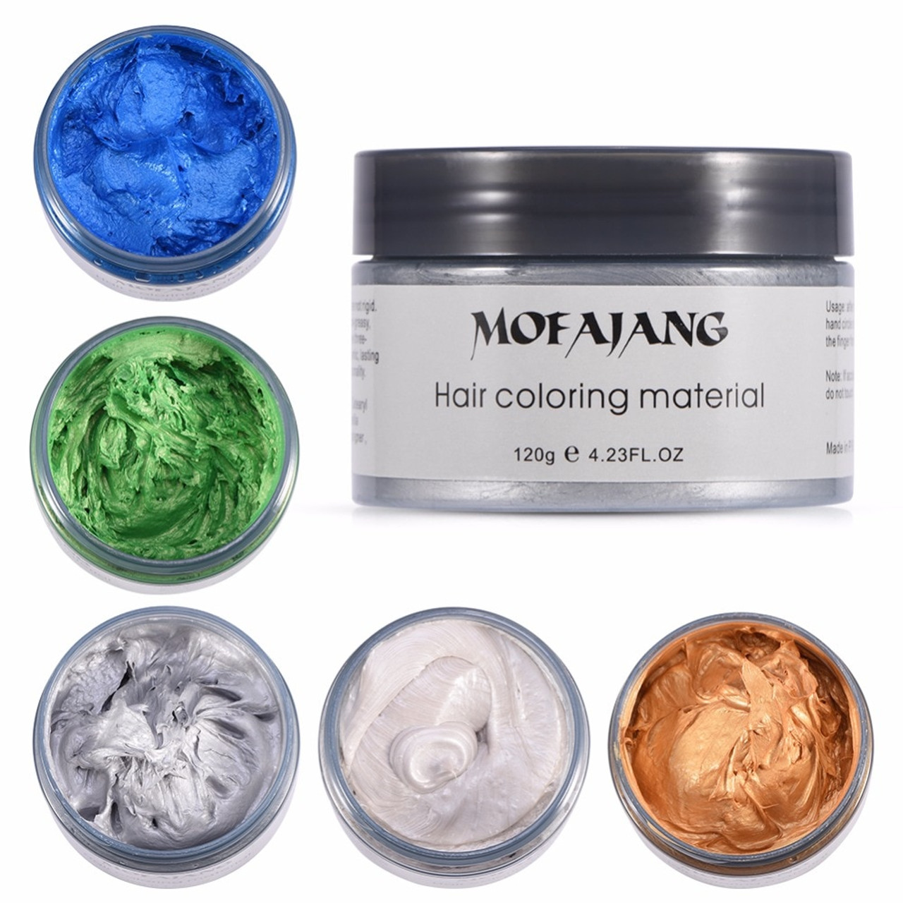 MOFAJANG 120g Hair Coloring Wax Silver Ash Grey Strong Hold Temporary Hair  Dye Gel Mud Easy Wash Hair Color Styling Promades Wax